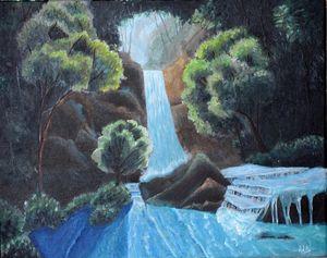 Misty Waterfall with Acrylic