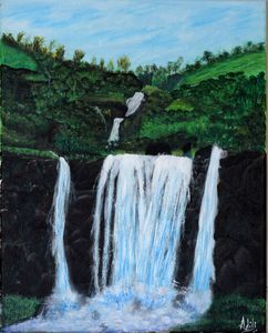 Waterfall with Acrylic paint.