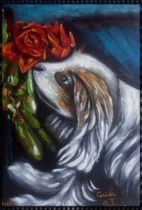 il cane che annusa le rose