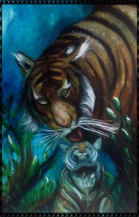tigre affettuosa - gallery store originale dipinti
