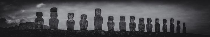 PANORAMA BLACK AND WHITE TONGARIKI - EASTER ISLAND - FINE ART PHOTOGRAPHY