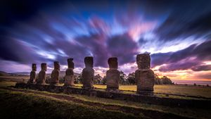 EASTER ISLAND - AHU AKIVI AT SUNSET