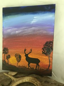 Elk at Sunset - Paintings by Al