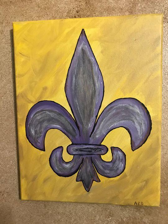 Purple and Gold Theme Fluer De Leis - Paintings by Al