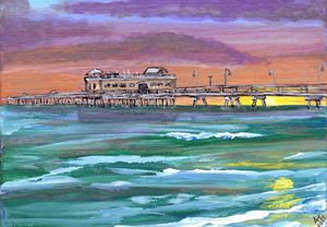 Ocean View Fishing Pier at Sunset