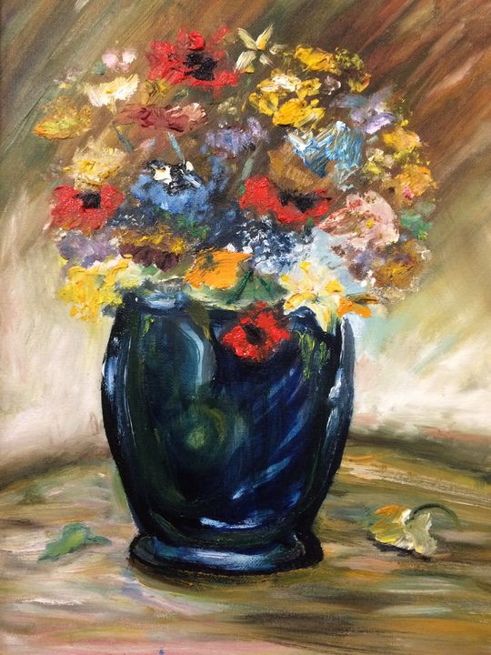 Poppies in a blue glass vase - Goldshiner