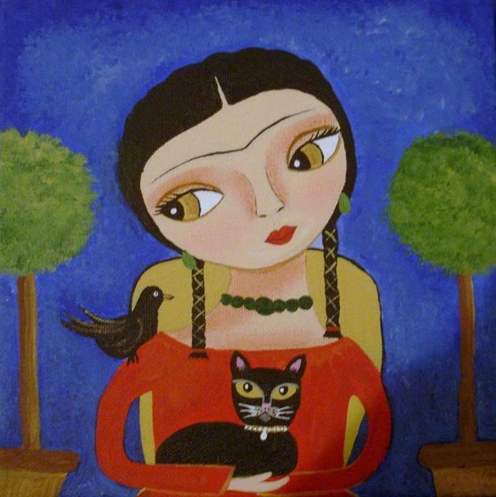 Frida Kahlo Black Cat - Erika Ashley