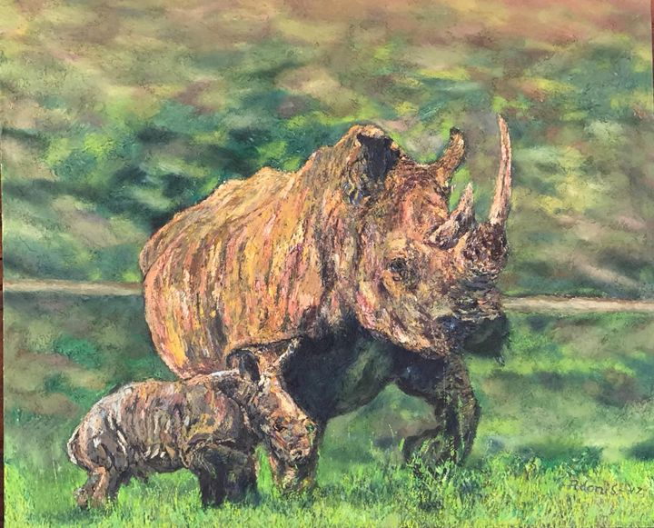 Mother & Baby Rhino - Adonis Arts