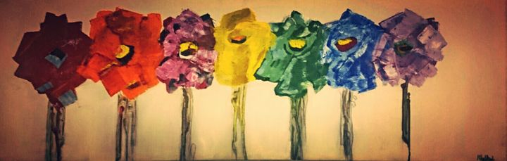 Abstract Flowers - Painting By Mike