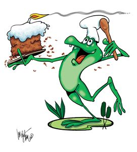 Frog Carrying Birthday Cake