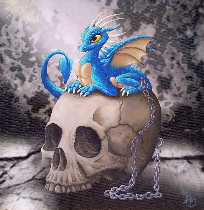 Captive Dragon On Skull - Caged Dreams