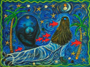 Manatee and Woman with Fish