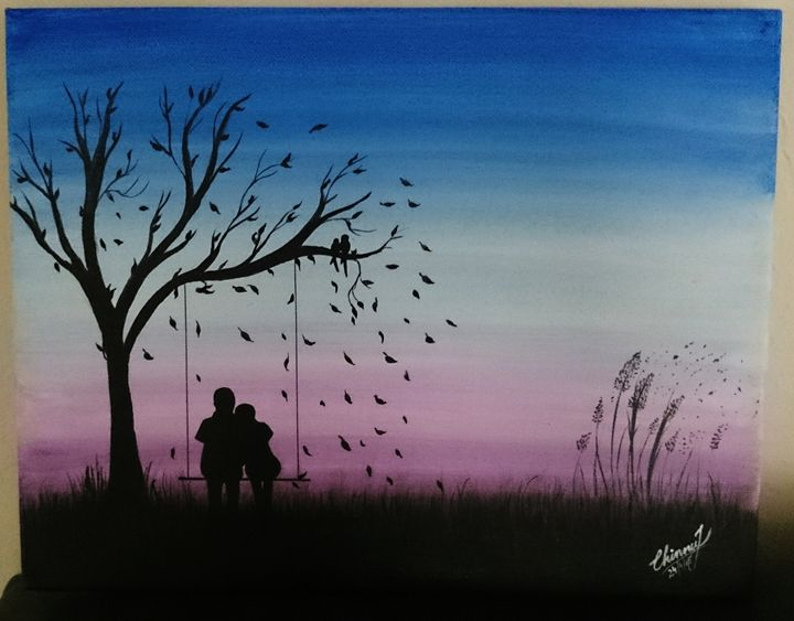 silhouette acrylic painting - Chinnu