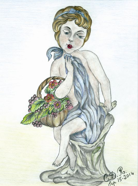 woman hold basket of grapes - Caterina DeRosa Gallery