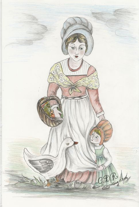 European Farmer with child - Caterina DeRosa Gallery