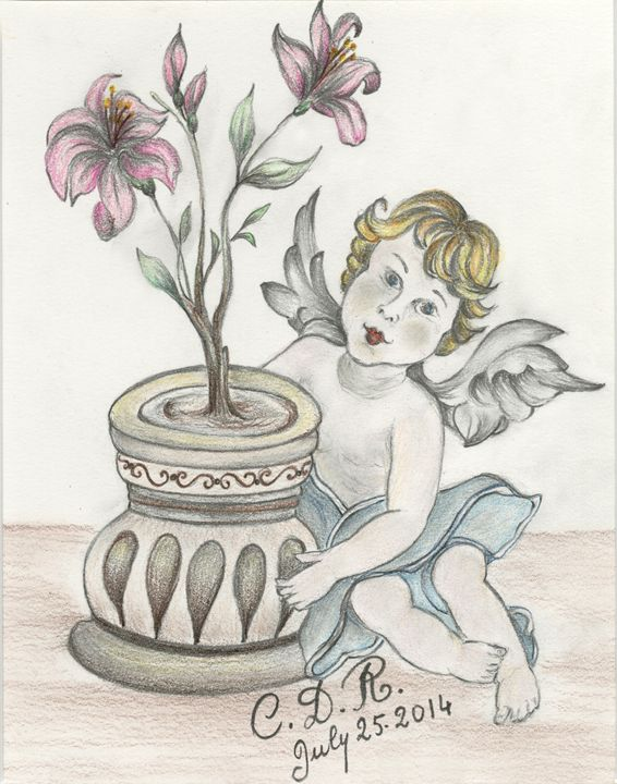 Angel with Flowers - Caterina DeRosa Gallery