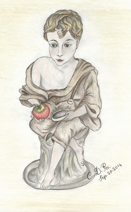 Boy holding apple - Caterina DeRosa Gallery