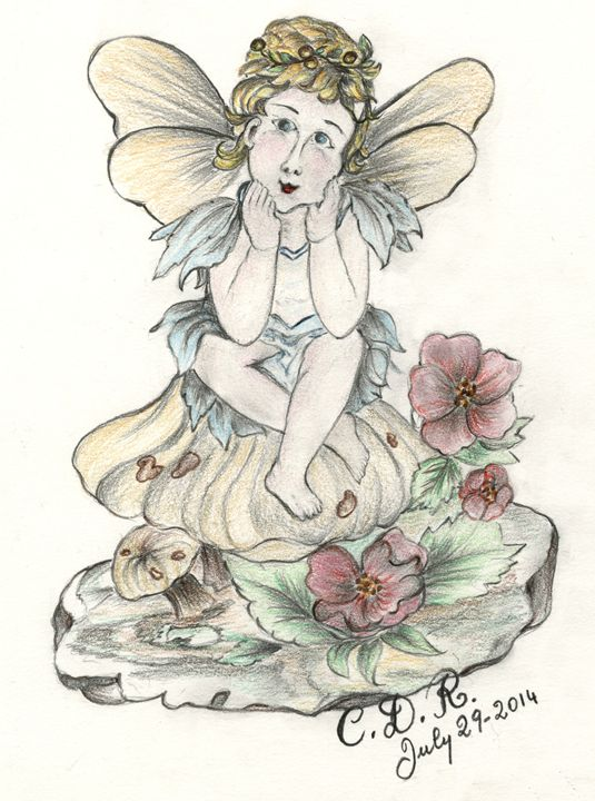 Angel sitting on mushroom - Caterina DeRosa Gallery