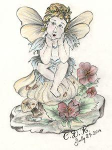 Angel sitting on mushroom