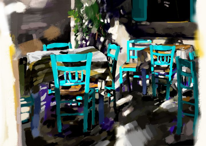 Restaurant Tables and Chairs, Greece - Andrew Storey