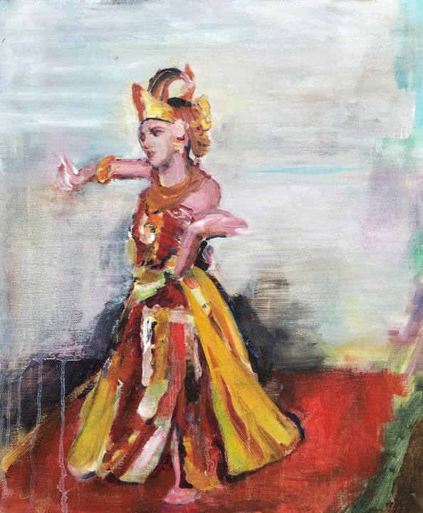 Balinese Dancer in Yellow and Red - Andrew Storey