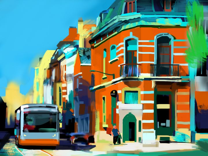 Bus and Pub, Brussels, Belgium - Andrew Storey