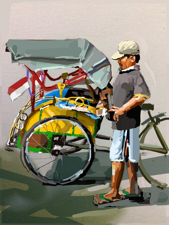 Bicycle Rickshaw, Indonesia - Andrew Storey