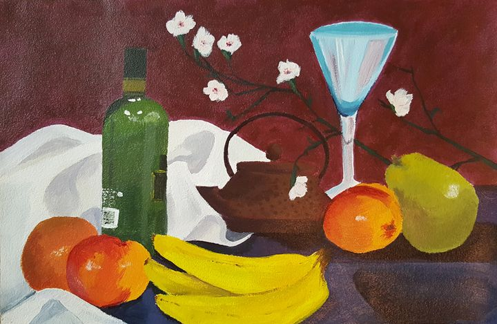 Still Life with Wine and Fruit - Heather Royal