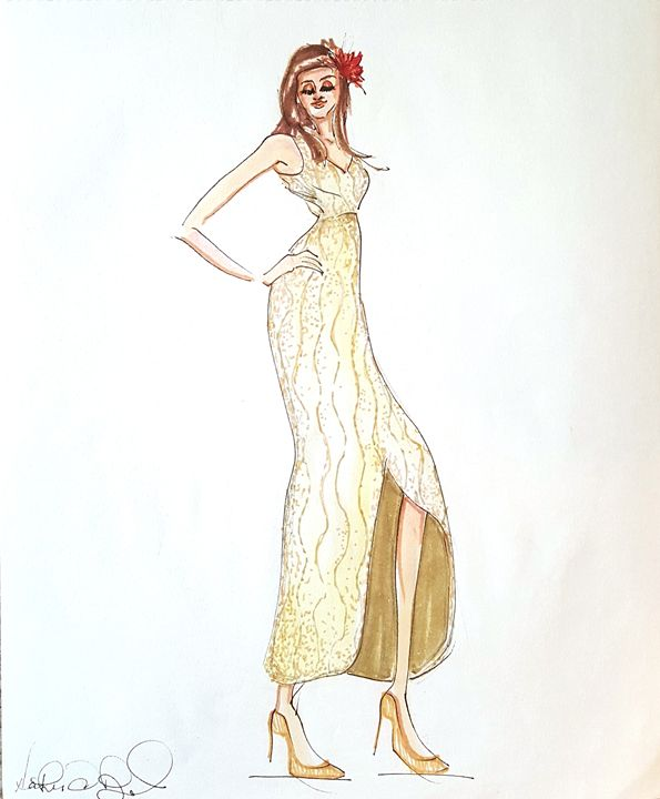 Gold Beaded Gown - Heather Royal