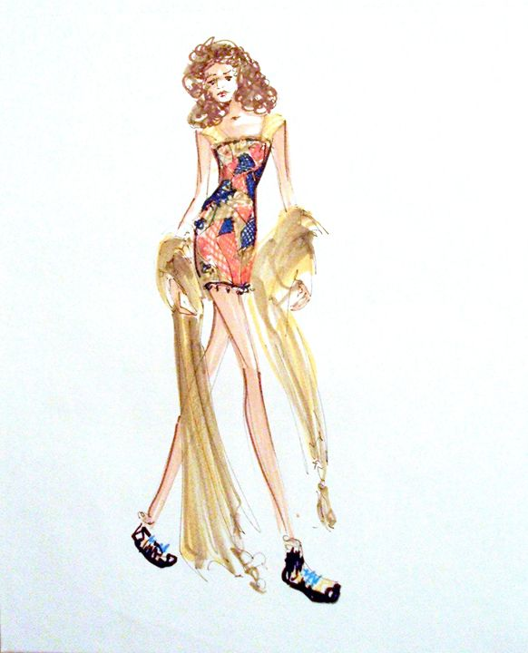 Fashion Illustration No 4 - Heather Royal