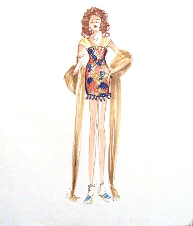 Fashion Illustration No 5 - Heather Royal