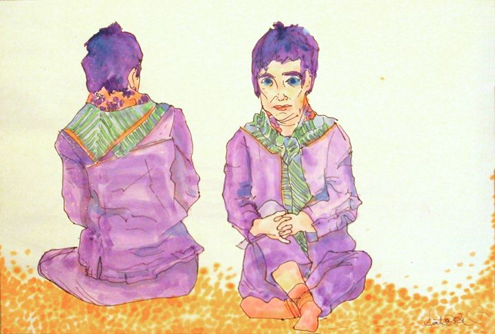 Seated Woman in Purple - Heather Royal
