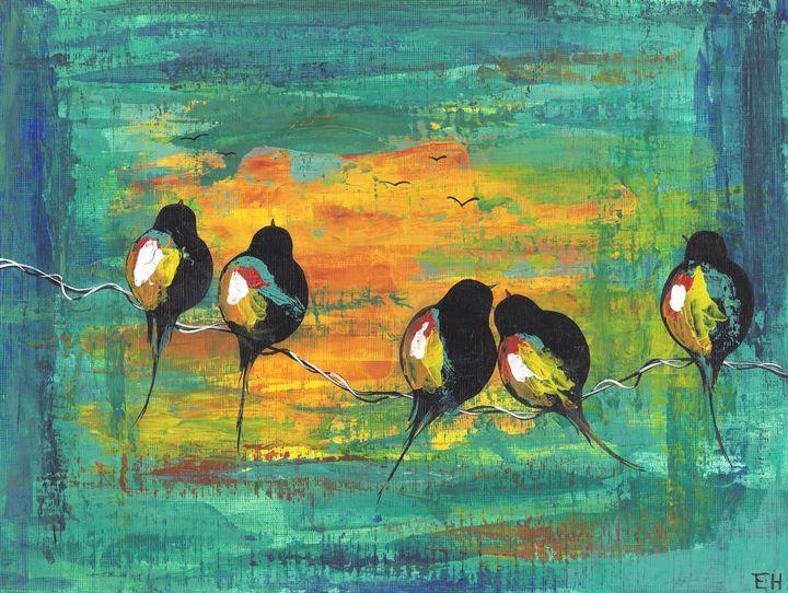 Birds on a Line - ElizabethPaintingCo