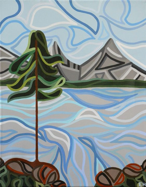 Two Mountains and a Pine - ElizabethPaintingCo