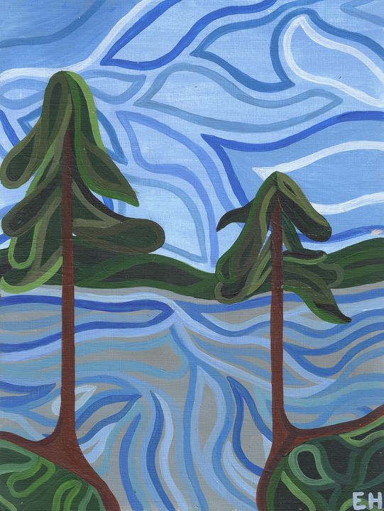 Two Pines and a Lake - ElizabethPaintingCo