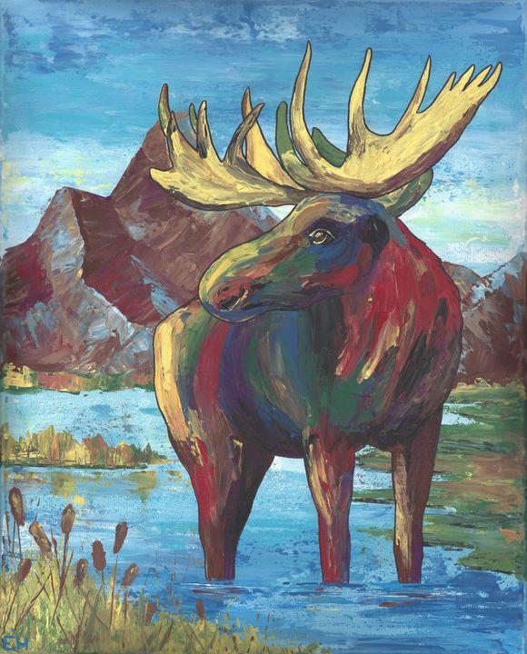 Colorful Moose - ElizabethPaintingCo
