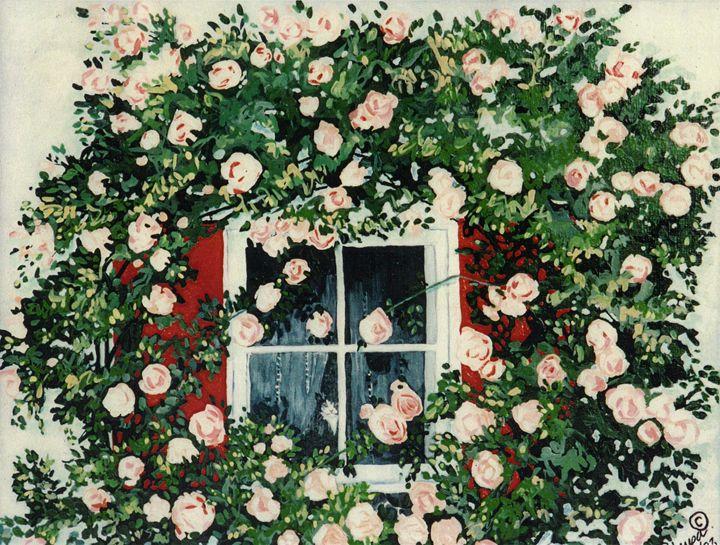 Cat in Window Of Roses - The Delaney Odyssey