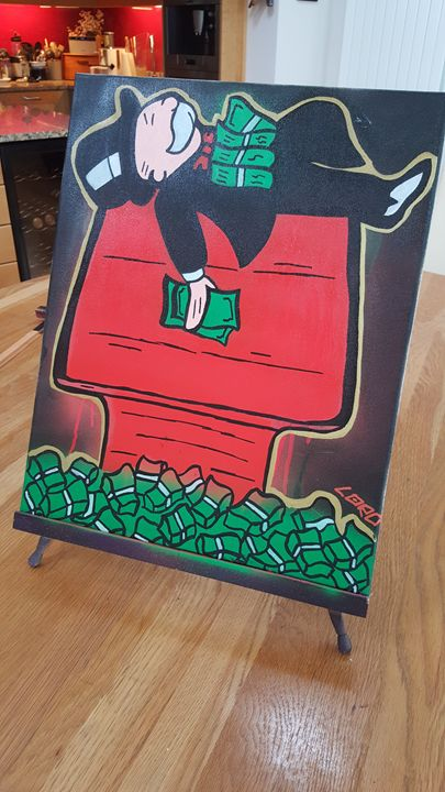 Monopoly Man in the dog house - Artwork by Lóro