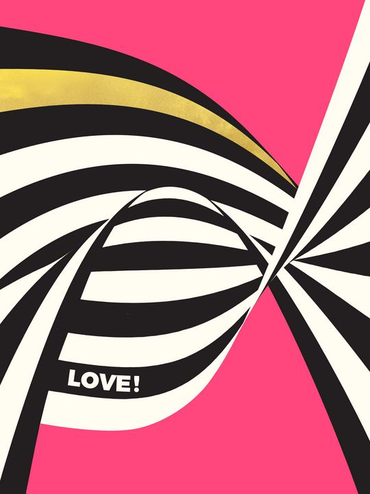 LOVE! - Wavy Stripes on Rich Pink - Beautiful Quotes