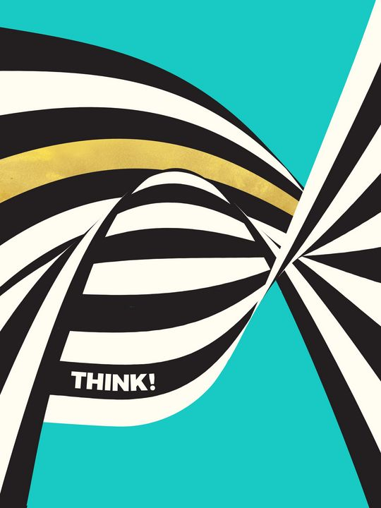 THINK! - Wavy Stripes on Luxury Blue - Beautiful Quotes