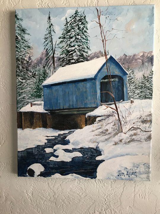 Winter covered bridge-blue - LuxuryArtPaintings