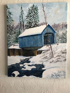 Winter covered bridge-blue - LuxuryArtPaintings