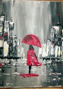 Rainy day city girl