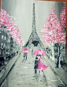 Love in the air eiffel tower in pink