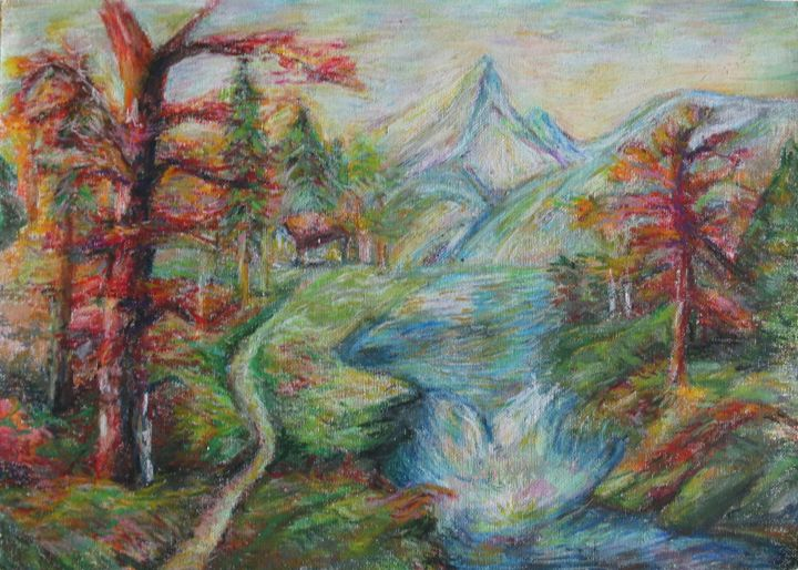 Landscape/Creek Drawing - Winnie's Painting