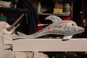 Handmade Wooden Dolphin Carve Decor