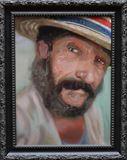Oil portrait, man in straw hat