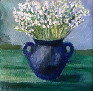 Lilies in Blue Vase