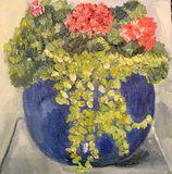 Blue pot with Plants