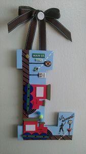 "Boy's Wall Hanging Decor ""L"" - Denise's Regal Art"
